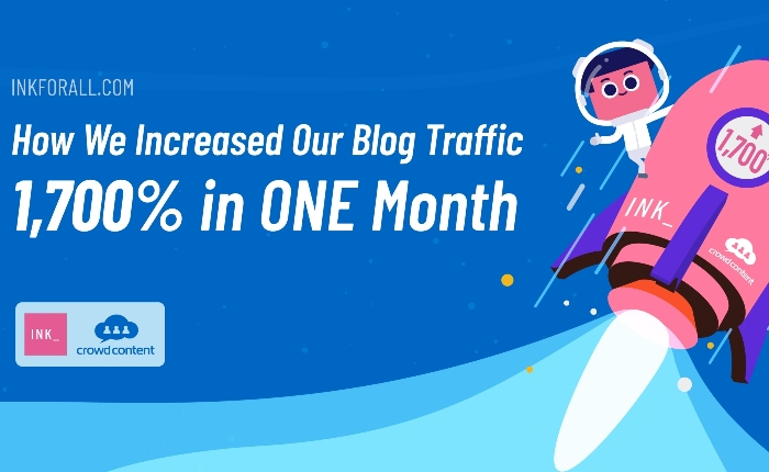 In one month, we're able to improve INK blog's organic traffic by 1,700%. That's from 500 monthly visitors to 13,000 monthly visitors!